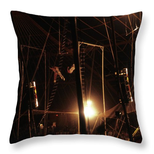 Circus Throw Pillow featuring the photograph The Flying Trapeze 1980s Circus by Joseph Duba