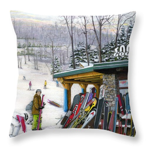 Seven Springs Throw Pillow featuring the painting The Foggy Goggle At Seven Springs by Albert Puskaric
