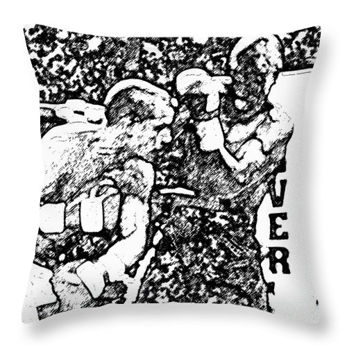 Prize Fighting.boxing Throw Pillow featuring the photograph The Follow Through by David Lee Thompson