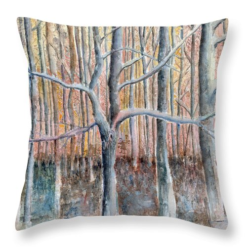 Forest Throw Pillow featuring the painting The Forest For The Trees by Arline Wagner