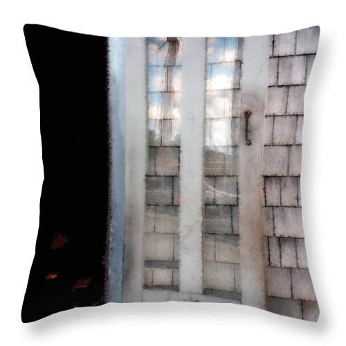 Door Throw Pillow featuring the painting The Forge And The Ship by RC DeWinter