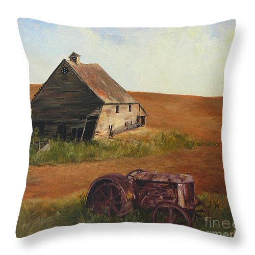 Oil Paintings Throw Pillow featuring the painting The Forgotten Farm by Chris Neil Smith