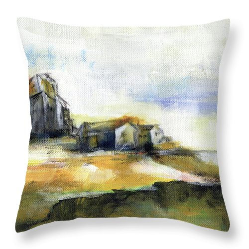 Abstract Landscape Throw Pillow featuring the painting The Fortress by Aniko Hencz