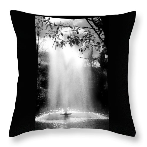 Black And White Throw Pillow featuring the photograph The Fountain by Lois Braun