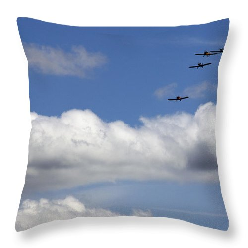 Airshow Throw Pillow featuring the photograph The Four Flying Beetles by Angel Ciesniarska