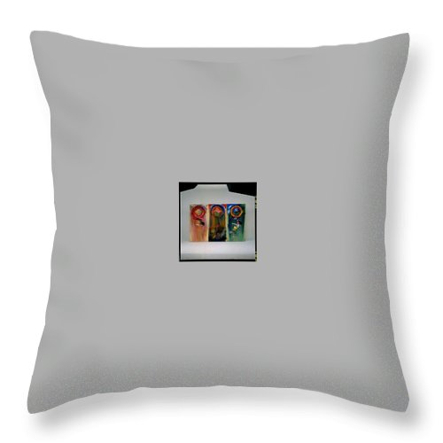 Fall From Grace Throw Pillow featuring the painting The Fruit Machine Stops by Charles Stuart