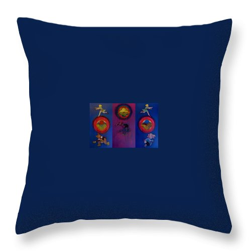 The Drums Of The Fruit Machine Stop At Random. Triptych Throw Pillow featuring the painting The Fruit Machine Stops II by Charles Stuart