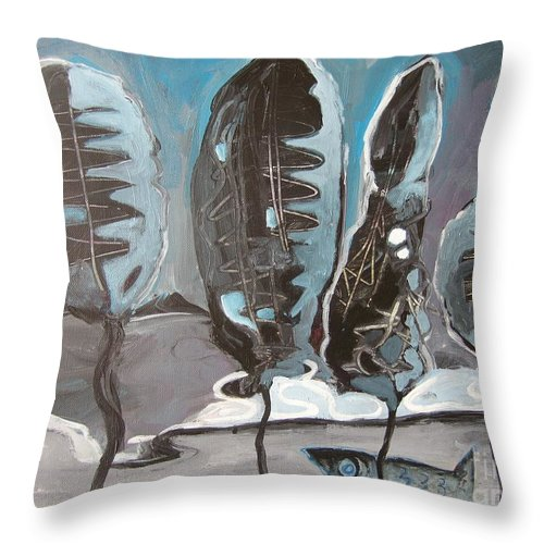 Abstract Paintings Throw Pillow featuring the painting The Full Moon by Seon-Jeong Kim