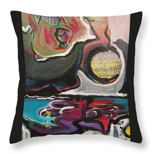 Abstract Paintings Throw Pillow featuring the painting The Full Moon2 by Seon-Jeong Kim