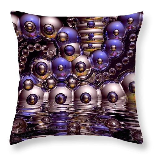 Bubble Throw Pillow featuring the digital art The Fun Factory by Robert Orinski