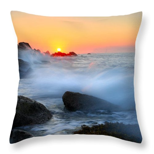 Waves Throw Pillow featuring the photograph The Fury Of The Sea by Mike Dawson