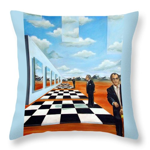 Surreal Throw Pillow featuring the painting The Gallery by Valerie Vescovi