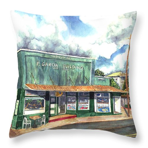 Maui Throw Pillow featuring the painting The Garcia Building by Eric Samuelson