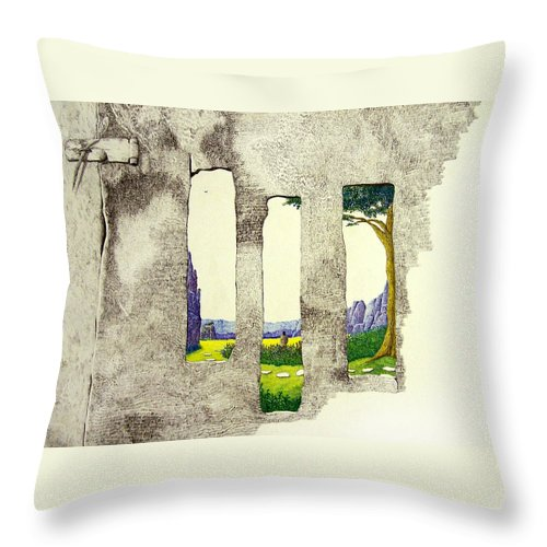 Imaginary Landscape. Throw Pillow featuring the painting The Garden by A Robert Malcom