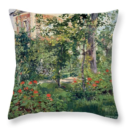 Garden Throw Pillow featuring the painting The Garden At Bellevue by Edouard Manet