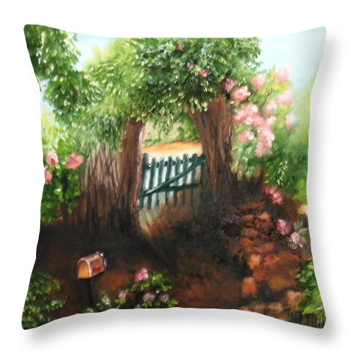 Garden Throw Pillow featuring the painting The Garden Gate by Maria Mills