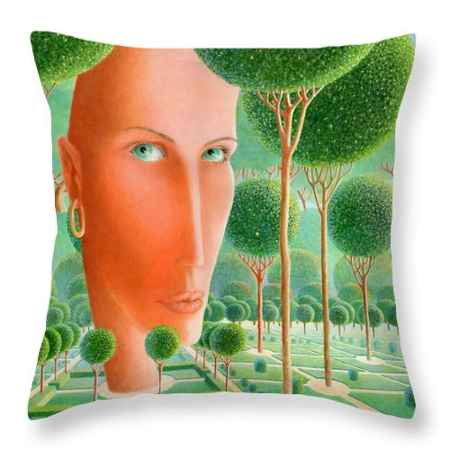 Giuseppe Mariotti Throw Pillow featuring the painting The Garden by Giuseppe Mariotti