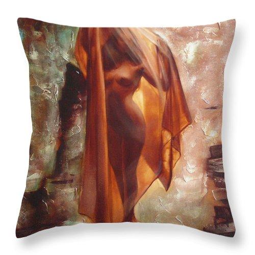 Ignatenko Throw Pillow featuring the painting The Garden Of Stones by Sergey Ignatenko