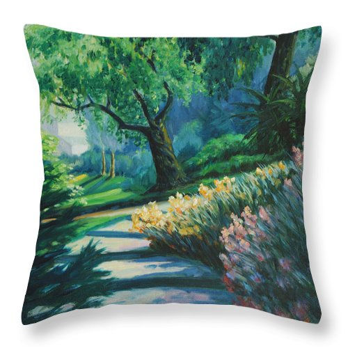 Trees Throw Pillow featuring the painting The Garden by Rick Nederlof