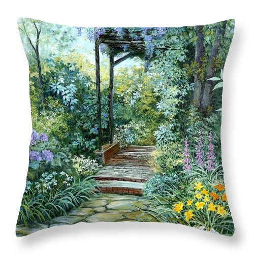 Oil Painting;wisteria;garden Path;lilies;garden;flowers;trellis;trees;stones;pergola;vines; Throw Pillow featuring the painting The Garden Triptych Right Side by Lois Mountz