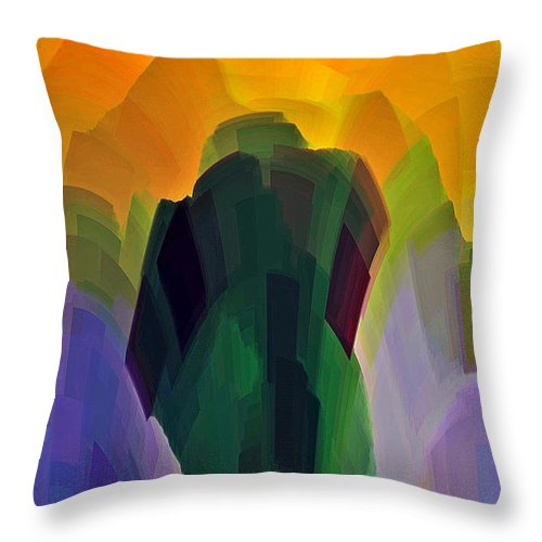 Garden Throw Pillow featuring the digital art The Gardener by Shelley Jones