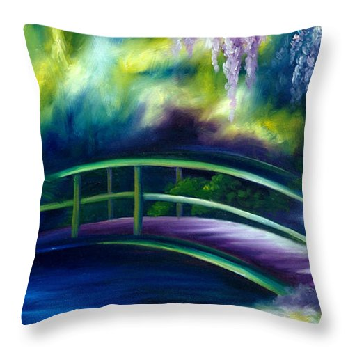 Sunrise Throw Pillow featuring the painting The Gardens of Givernia by James Christopher Hill