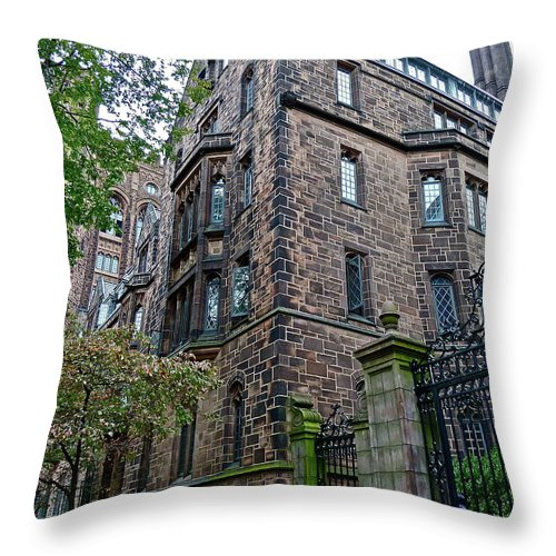 Architecture Throw Pillow featuring the photograph The Gates Of Yale by Diana Hatcher