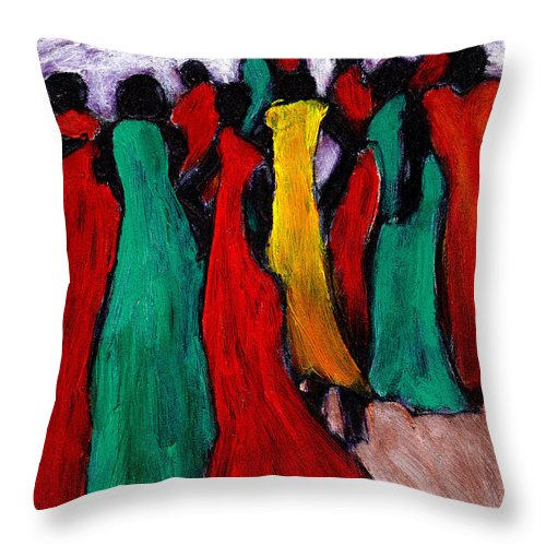 Black Art Throw Pillow featuring the painting The Gathering by Wayne Potrafka
