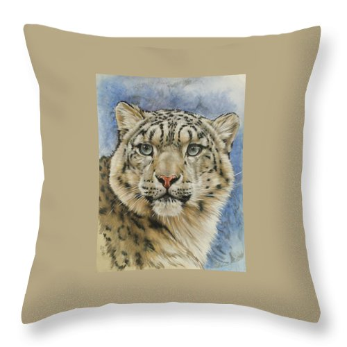 Snow Loepard Throw Pillow featuring the mixed media The Gaze by Barbara Keith