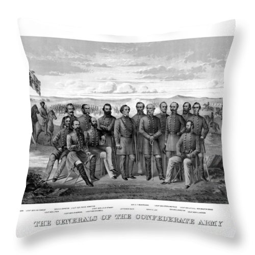 Civil War Throw Pillow featuring the mixed media The Generals Of The Confederate Army by War Is Hell Store