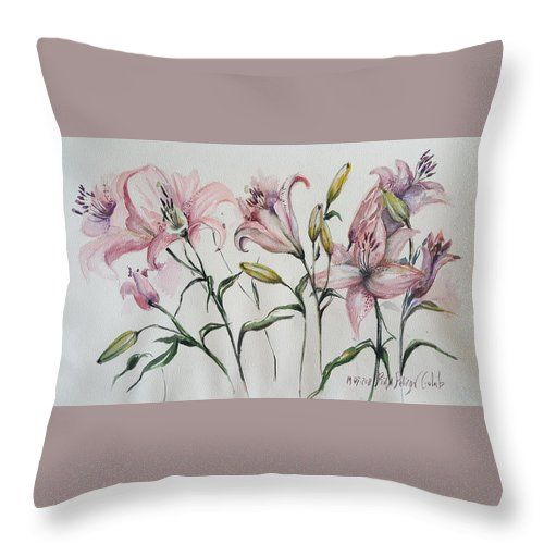 Leaves Throw Pillow featuring the painting Gentle Flowers by Rita Fetisov
