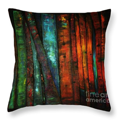 Trees Throw Pillow featuring the painting The Giants Two by Sidra Myers