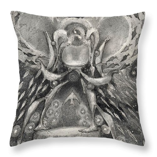 The Gift Throw Pillow featuring the drawing The Gift II by Juel Grant