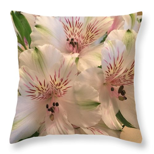 Lillies Throw Pillow featuring the photograph The Gift by Sonja Jones