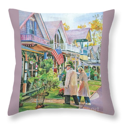 Gingerbread Cottages Throw Pillow featuring the painting The Gingerbread Cottages by P Anthony Visco