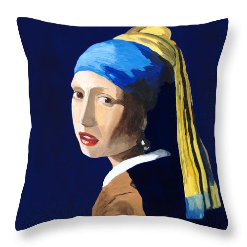 Vermeer Throw Pillow featuring the painting The Girl With A Pearl Earring After Vermeer by Rodney Campbell