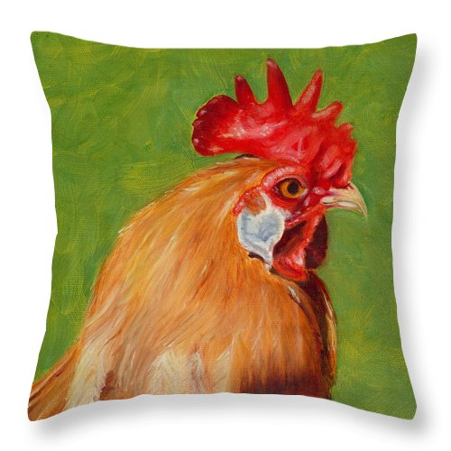 Rooster Throw Pillow featuring the painting The Gladiator by Paula Emery