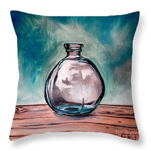 Glass Throw Pillow featuring the painting The Glass Bottle by Elizabeth Robinette Tyndall