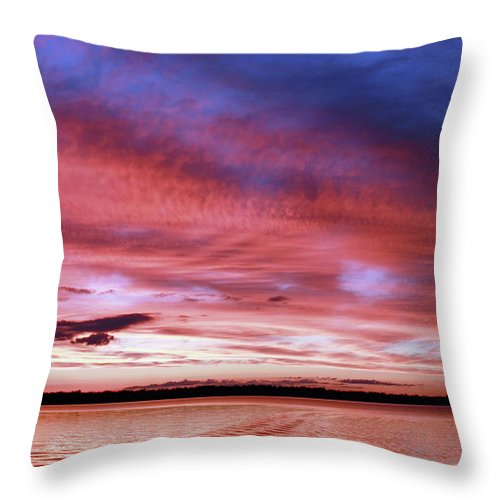 Sunset Throw Pillow featuring the photograph The Gloaming Of Lac Vieux Desert by Martina Schneeberg-Chrisien