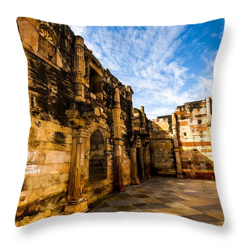 architecture Throw Pillow featuring the photograph The Glorious Ruins by Deepanjana Ghosh