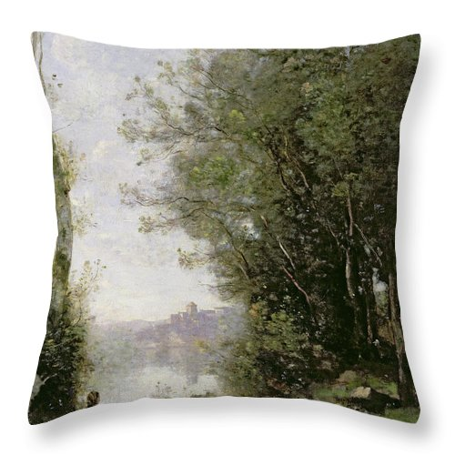 The Throw Pillow featuring the painting The Goatherd Beside The Water by Jean Baptiste Camille Corot