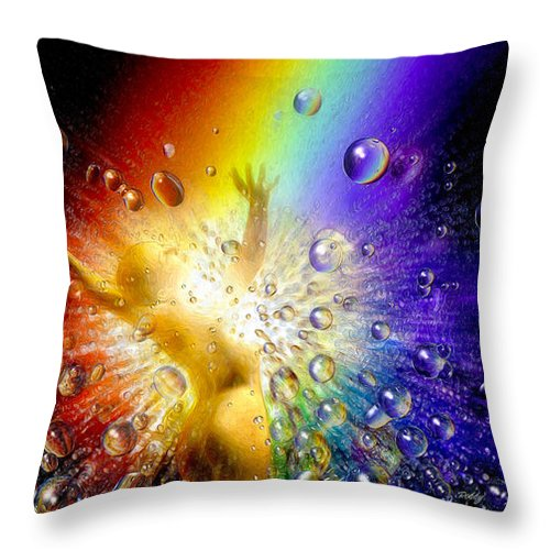 Throw Pillow featuring the painting The Gold At The End Of The Rainbow by Robby Donaghey