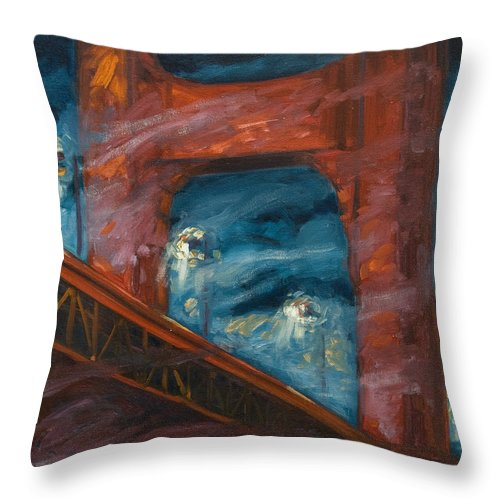Bridge Throw Pillow featuring the painting The Golden Gate by Rick Nederlof