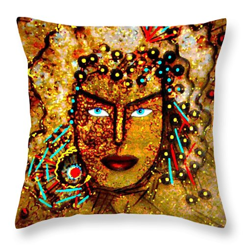 Goddess Throw Pillow featuring the painting The Golden Goddess by Natalie Holland