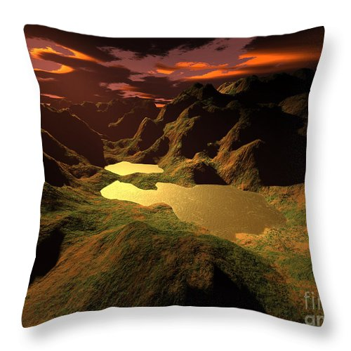 Digital Art Throw Pillow featuring the digital art The Golden Lake by Gaspar Avila