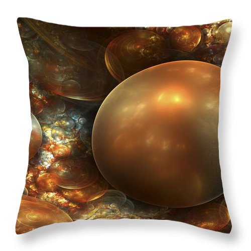 Fractal Art Throw Pillow featuring the digital art The Golden Nest by Amorina Ashton