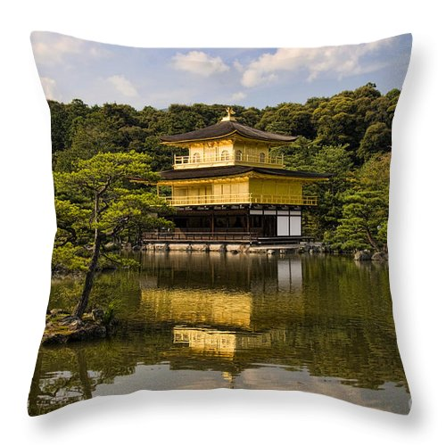 Colour Throw Pillow featuring the photograph The Golden Pagoda in Kyoto Japan by David Smith