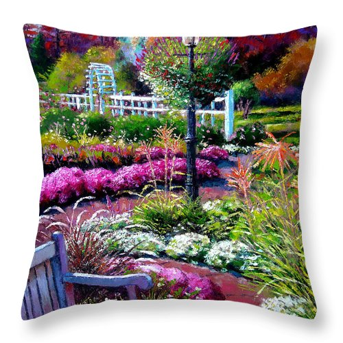 Garden Path Throw Pillow featuring the painting The Golden Season by John Lautermilch