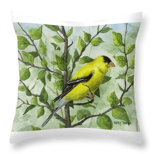 Birds Throw Pillow featuring the painting The Goldfinch by Mary Tuomi