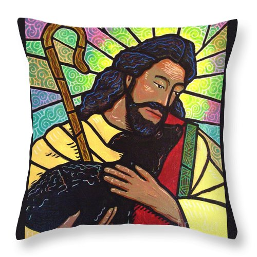 Jesus Throw Pillow featuring the painting The Good Shepherd - Practice Painting Two by Jim Harris